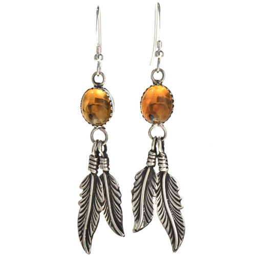 Citrine Silver Feather Earrings 29403