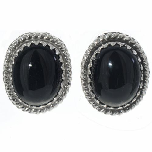 Black Onyx Navajo Post Earrings 28441