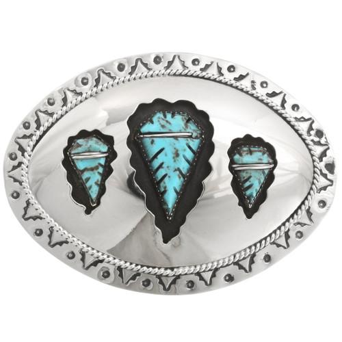 Turquoise Arrowhead Navajo Belt Buckle 23106
