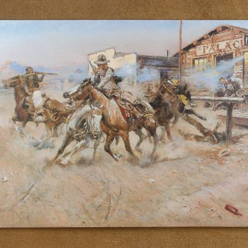 """Open edition """"The Smoke of a .45"""" Canvas Print by Charles Russell"""