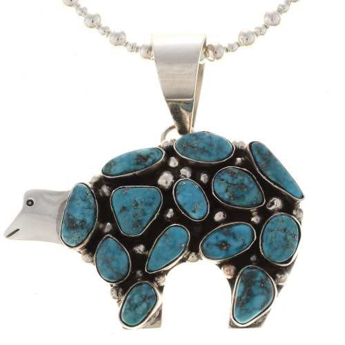 Turquoise cluster Bear Necklace 19484