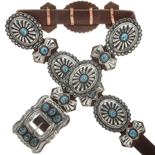 Turquoise Silver Navajo Concho Belt 27952