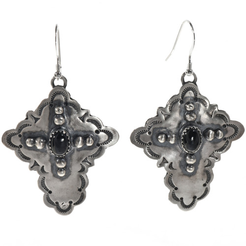Black Onyx Silver Cross Earrings 28854