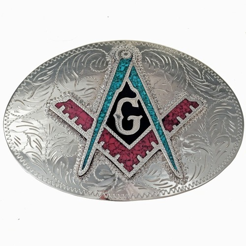 Freemason Turquoise Coral Belt Buckle 32662