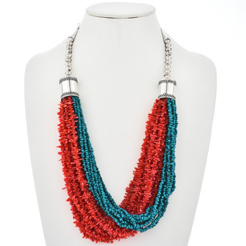 Navajo Turquoise Coral 20 Strand Necklace 10683
