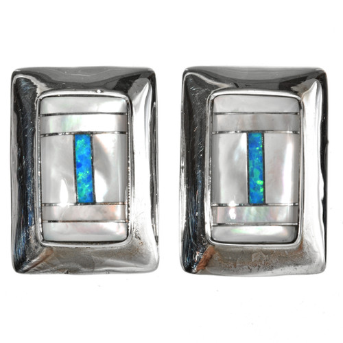 Inlaid Mother of Pearl Opal Silver Earrings 29537