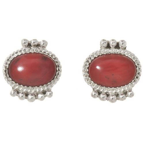 Navajo Coral Silver Stud Earrings 29082