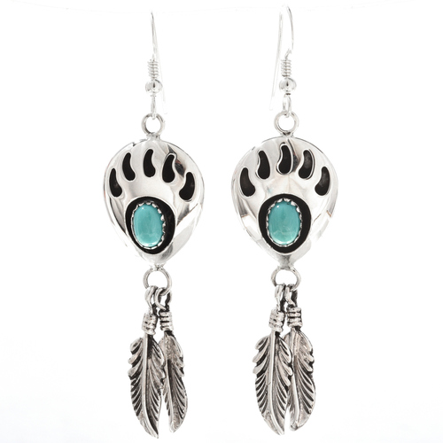 Navajo Turquoise Bear Paw Earrings 27602