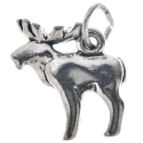 Sterling Silver Elk Charm Bracelet Pendant Necklace