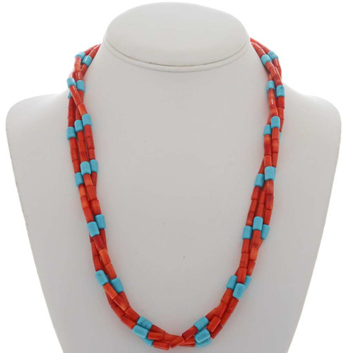 Southwest Coral Turquoise Beaded Necklace 25952