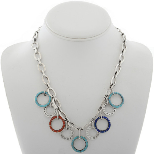 Inlaid Turquoise Coral Lapis Necklace 27717