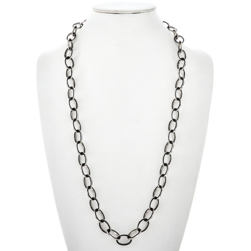 Inlaid Silver Black Onyx Link Necklace 29611