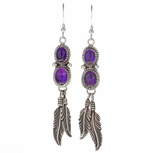 Navajo Amethyst Silver Dangle Earring 29461