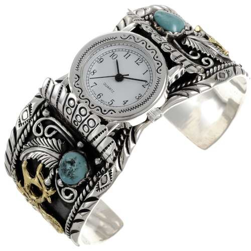 Turquoise Gold Silver Ladies Watch Cuff 24430