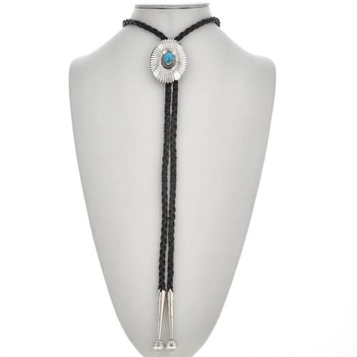 Turquoise Silver Concho Bolo Tie 29758