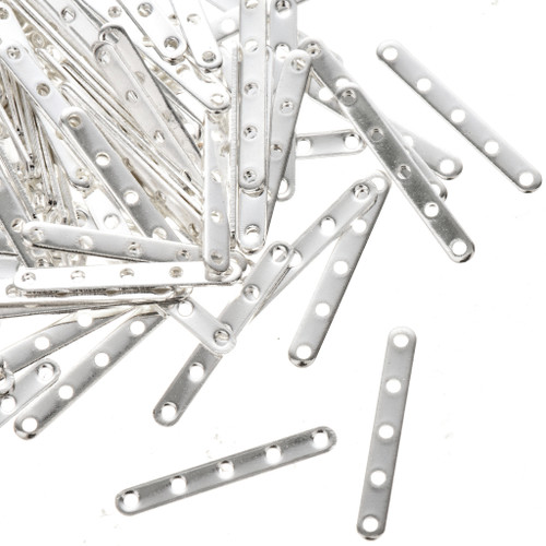 Silver Findings 50 pair of Silver 5 strand Necklace Spacers 1mm 0145