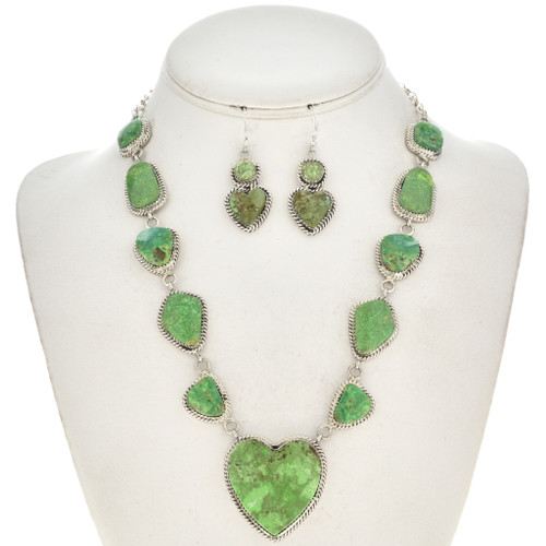 Green Turquoise Heart Navajo Y Necklace 29665