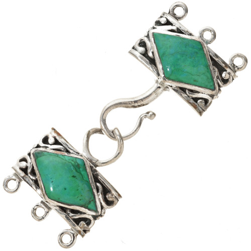 Sterling Silver Turquoise Three Strand Necklace Hook and Eye Set 0002