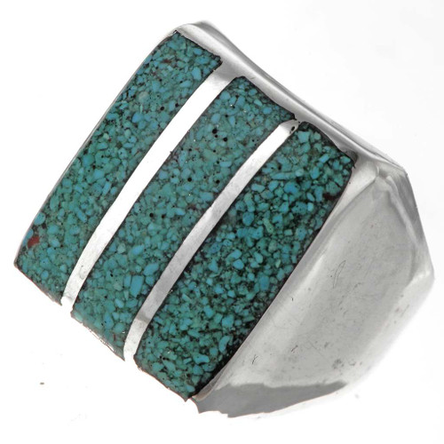 Turquoise Chip Mens Ring 27389