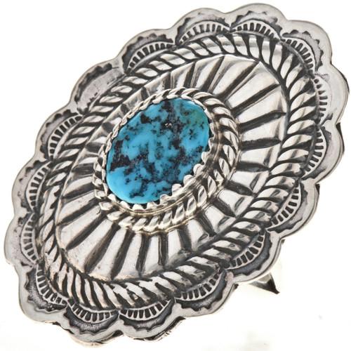 Gemstone Silver Concho Ring 28903