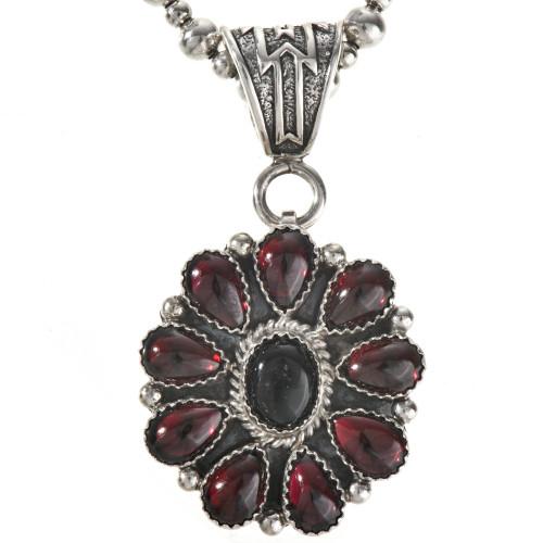 Navajo Gemstone Silver Pendant 28878