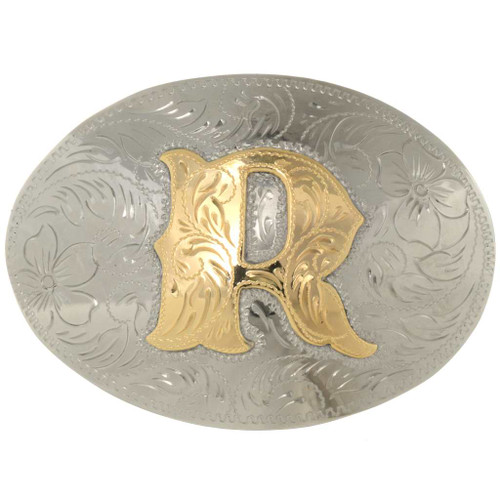Gold Silver Initial Belt Buckle 26726
