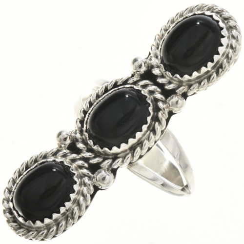 Navajo Onyx Silver Ladies Ring 29106