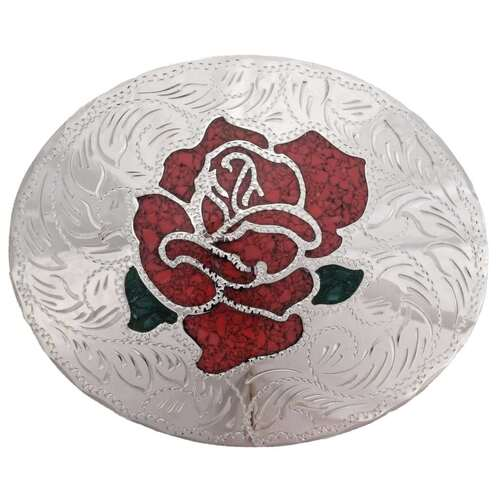 Coral Rose Silver Belt Buckle 24270