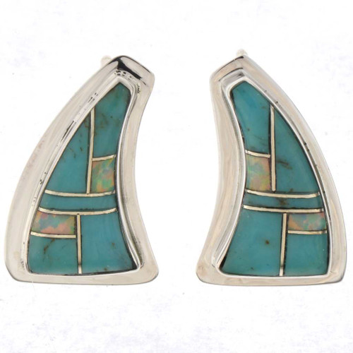 Inlaid Turquoise Opal Earrings 25606