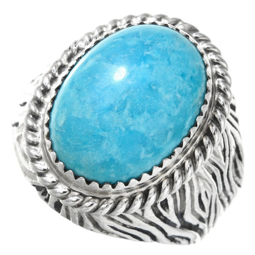 Natural Turquoise Silver Mens Ring 27093