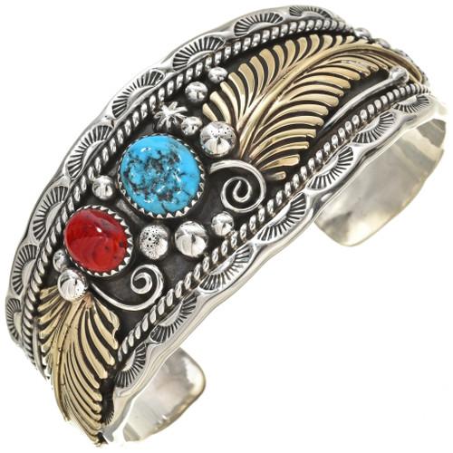 Navajo Silver Gold Cuff Bracelet 24247