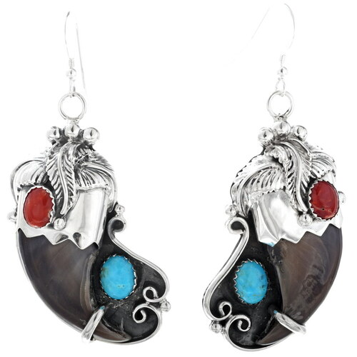 Turquoise Coral Claw Earrings 21026