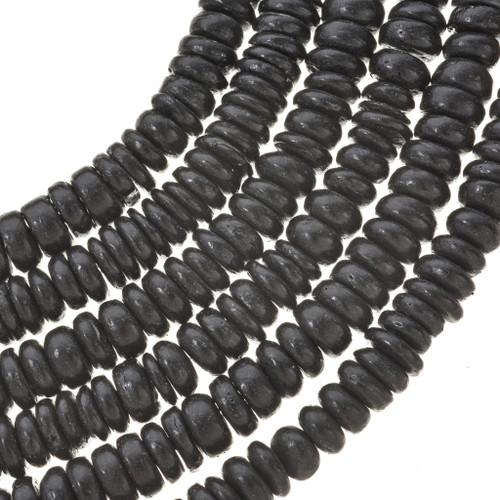 8mm Black Wooden Beads 16 inch Strand
