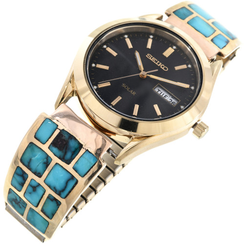 Gold Turquoise Mens Watch 28921