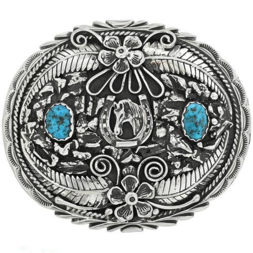 Turquoise Belt Buckle Lucky Horseshoe 24389