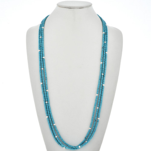 Turquoise Silver Beaded Necklace 29294