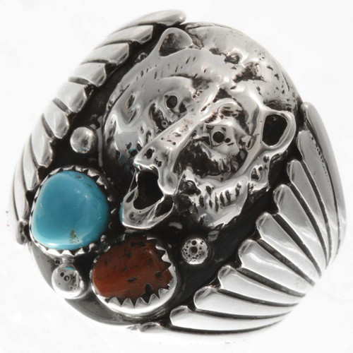 Navajo Turquoise  Silver Bear Mens Ring 22419
