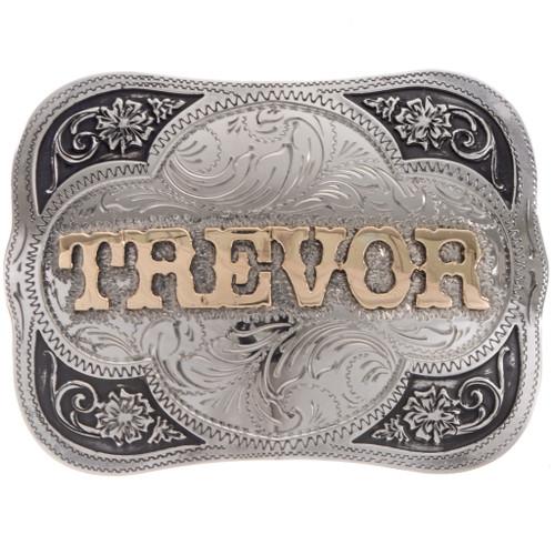Custom Silver Gold Name Trophy Belt Buckle 22106