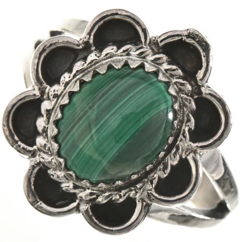 Malachite Silver Navajo Ladies Ring 28666