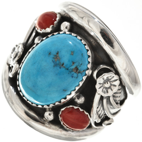 Navajo Turquoise Silver Ring 27411