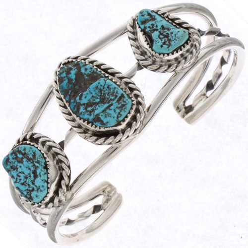 Blue Turquoise Silver Cuff Bracelet 25318