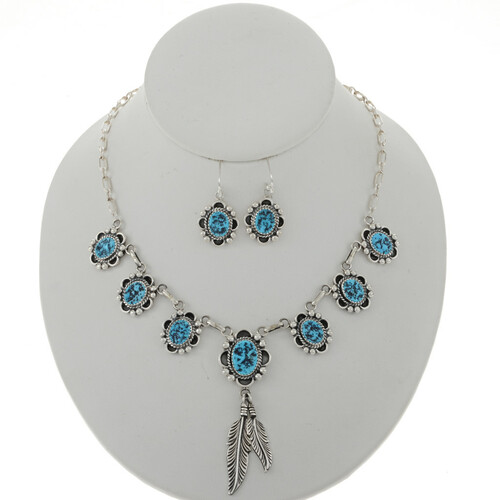 Natural Turquoise Feather Necklace Set 27697