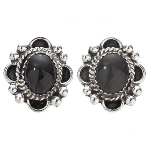 Black Onyx Silver Navajo Earrings 29518