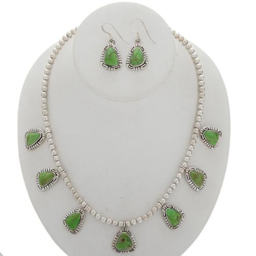Silver Southwest Necklace Earrings Set 27845