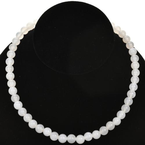 8mm White Quartz Glass Beads 16 inch Strand