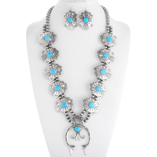 Turquoise Silver Squash Blossom Necklace 28341