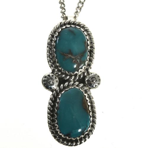 Navajo Bisbee Turquoise Pendant 28656