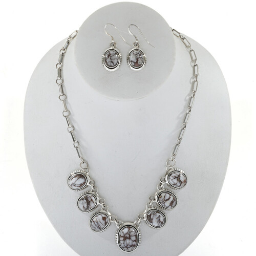 Wild Horse Magnesite Silver Necklace Set 27706