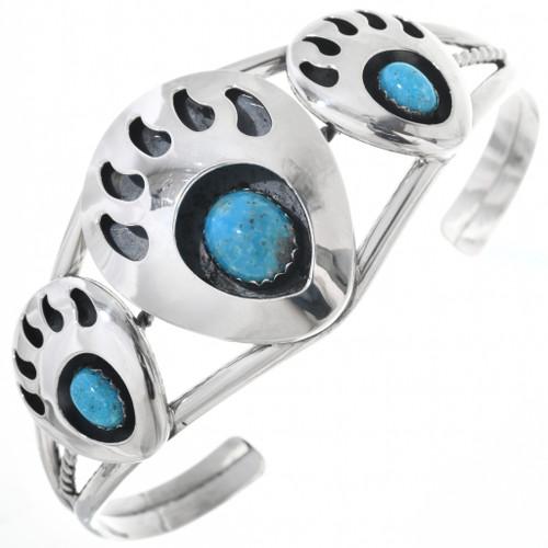 Navajo Turquoise Bear Paw Bracelet 14859