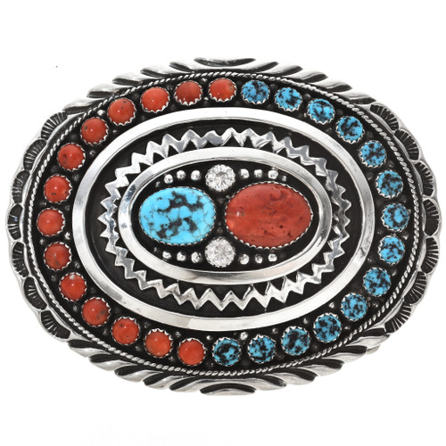 Navajo Natural Kingman Turquoise Silver Coral Design Belt Buckle 28249